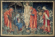 The Adoration of the Magi -   Designed by Edward Coley Burne-Jones,   Floral ground designed by John Henry Dearle  Morris & Co.