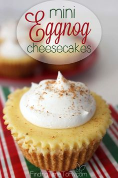 Mini Eggnog Cheesecakes are cute, creamy, delicious, simple to make, and perfect for a holiday party dessert table.