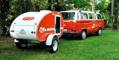 Aussie teardrop camper pulled by a Volkswagen van Small Camper Trailers, Small Campers, Cool Campers, Rv Campers, Vintage Rv, Vintage Caravans, Vintage Travel Trailers, Vintage Airstream, Vintage Campers