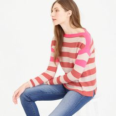 Collection featherweight cashmere striped boatneck sweater