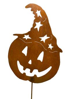 Jack-o-Lantern with Witch Hat Metal Yard Stake by Oregardenworks
