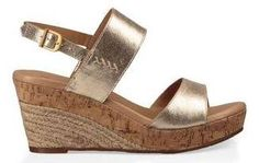 Original UGG® Elena Metallic Sandals for Women on the official UGG® website. Metallic Sandals, Metallic Gold, Uggs, Ugg Website, Wedge Sandals, Sandal Wedges, Jute, Fashion Shoes, Shabby Chic