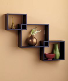 Set of 3 Interlocking Black Wall Shelves Wall Display Home Decor Black Interlocking Wall Shelves Display Shelf Wall Home Art [SM209099-1I3S-BLK] - $19.95 : Smart Saver LLC