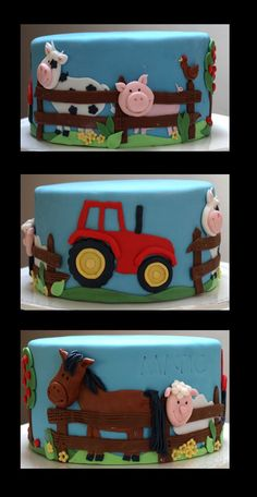 Farm Cake Chocolate cake with chocolate buttercream, all fondant. Farm Animal Cakes, Farm Animal Party, Farm Animal Birthday, Farm Themed Party, Farm Party, Fondant Cakes, Cupcake Cakes, Farm Birthday Cakes, 2nd Birthday