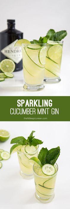 Sparkling Cucumber Mint Gin #gincocktails