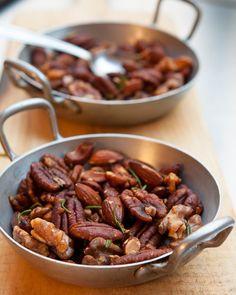 Roasted Nuts with Rosemary and Cosmopolitans (recipes) | davidlebovitz.com