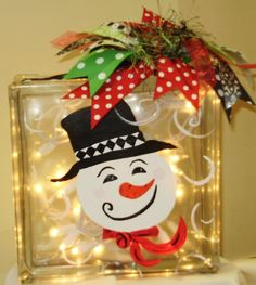Snowman Lighted Glass Block