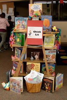 Library Displays: Chick Lit, kids books featuring chickens, hens, roosters...