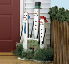 Pole Snowman Trio Woodcraft Pattern