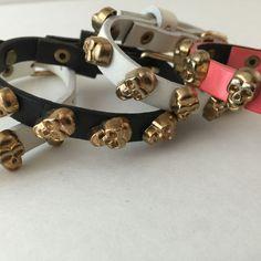 Skull Buckle Bracelets Coral Black and White Lot of 4 Love Fire Goldtone Skulls…