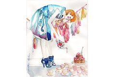 Oil painting by Samantha Hahn, Alice Revisits Wonderland on OneKingsLane.com