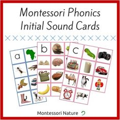 """Montessori Phonics Initial Sound Cards pack contains 26 pages.Each page presents one letter with 10 corresponding initial sound pictures. Except  """"o"""" """"x"""" """"z"""" """"u"""" and """"y"""" which have 9 corresponding pictures or less.. Most of the pictures are phonetic or have a phonogram in them.Montessori Phonics Initial Sound Cards are designed to facilitate the process of learning to read as addition to Montessori Language materials."""