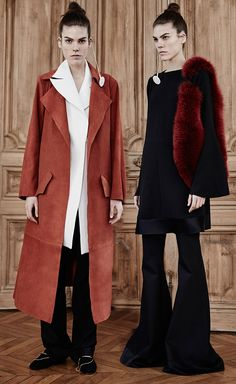 Ellery Fall 2015 - Visceral Trench Suede Coat + Radiate Godet Sleeve Dress + Expressionism Wide Flared Pant - All at Moda Operandi