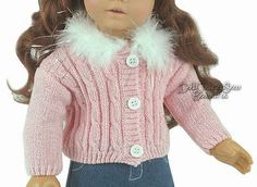 Valentine-Pink-Chenille-Sweater-w-Feather-Collar-For-American-Girl-Doll-Clothes