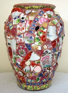 Mosaic China & Gems Oriental Tea Pot Vase by Palscreations: Made with porcelain & polymer clay roses, earrings, jewelry, beads & hearts.