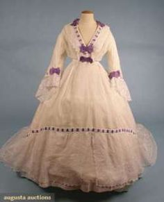 Afternoon dress, late 1860s, via Augusta Auctions