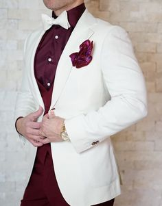 Share if you love Burgundy and white together! Join our Bold Family Today! #sebastiancruzcouture #MensFashionWhite