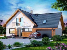 Projekt domu z poddaszem Alion 2M o pow. 136,79 m2 z obszernym garażem, z dachem dwuspadowym, z tarasem, sprawdź! Village Houses, Home Fashion, Dream Life, Architecture Design, House Plans, Cabin, House Design, House Styles, Home Decor