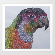Parrot Art Print, Hand Painted in Watercolours #artprint #parrot #illustration #painting #watercolours #society6