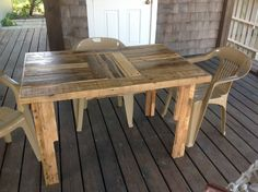 Table made from reclaimed pallets.