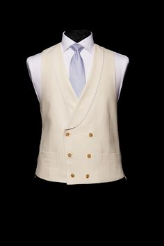 Ivory linen double breasted waistcoat with ivory silk piping by Neal & Palmer Double Breasted Waistcoat, Groom Morning Suits, Made To Measure Suits, Nehru Jackets, Bespoke Tailoring, Ivory Silk, Embroidered Silk, Wedding Suits, Floral
