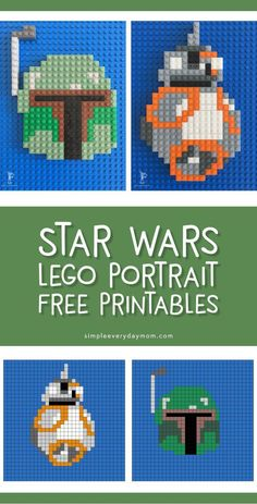 Star Wars Lego Mosaic Free Printables Kids love these fun Star Wars printables that show them how to create 2 of their favorite characters, & Boba Fett. Lego Star Wars, Star Wars Kids, Lego Activities, Craft Activities For Kids, Legos, Lego Lego, Lego Portrait, Anniversaire Star Wars, Star Wars Crafts