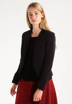 """Vila. VIRYLLIS CAMP - Blazer - black. Fit:regular. Outer fabric material:77% polyester, 18% viscose, 5% spandex. Our model's height:Our model is 71.0 """" tall and is wearing size S. Pattern:plain. Care instructions:do not tumble dry,mach..."""
