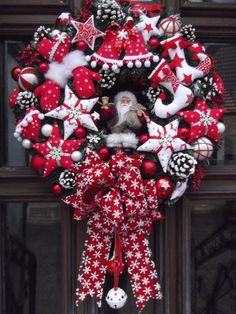 ♥Türkranz♥Weihnachten♥Weihnachtskranz♥ Rot-Weiß♥Tilda-Art | eBay