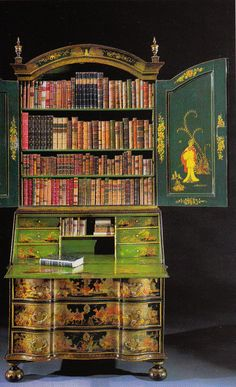 Bureau-bookcase with Japanned doors circa 1730. Kentshire Gallery NY