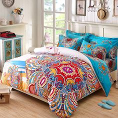 Blue Yellow Red and White Colorful Bohemian Chic Tribal Print Indian Pattern Western Style 100% Cotton Damask Full, Queen Size Bedding Sets