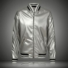 Cheap bomber jacket, Buy Quality bomber jacket fashion directly from China bomber style jacket Suppliers: 2017 New Arrived Men Fashion Bigbang GD Same Style Streetwear Faux Leather Stand Collar Sequin Silver Color Zipper Bomber Jacket