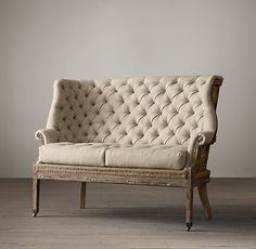 Deconstructed 19Th C. English Wing Settee/ Restoration Hardware