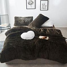 Fluffy Velvet Fleece Quilt Cover Bed Set (4/6/7 pcs) - Dark Green