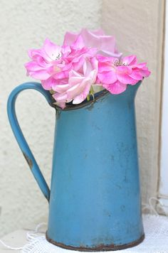 Vintage French Blue Enamelware Pitcher