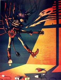 Here is a place where I will post all of the official Gorillaz art. I claim none of this art and it is all created by Jamie Hewlett. I will NOT be posting any fan art (including edits). Gorillaz Noodle, Gorillaz Fan Art, Gorillaz Wiki, Damon Albarn, Cyborg Noodle, Jamie Hewlett Art, Folk Rock, Art Puns, Monkeys Band