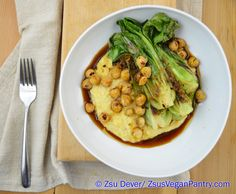 Bok Choy and Chickpeas over Spicy Ginger-Scented Polenta. Gluten free and vegan.