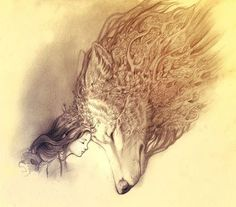 Girl and wolf drawing sketch