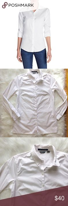 """Eddie Bauer Wrinkle Resistant White Button Up Eddie Bauer Stretch wrinkle resistant white button up in excellent condition. Size Medium. Armpit measurement is 20"""". Length shoulder to hem is 28"""". Has 5.5"""" side slits. Eddie Bauer Tops Button Down Shirts"""
