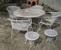 Vintage 5 Piece Patio Set Wrought Iron Round Glass Top White Table U0026 4  Chairs | Vintage Patio, Patios And Wrought Iron