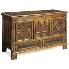 A Rare Pilgrim-Century Joined Oak with Maple and Cedar Chest with Two Drawers, Plymouth County, Massachusetts, circa 1690. Sotheby's
