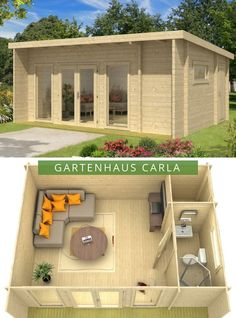 Gartenhaus Modell ISO Gartenhaus Modell ISO Garden house modern: Our garden house Carla with modern pent roof. The three rooms provide generous space for creative interior design ideas. Backyard Buildings, Backyard Sheds, Backyard Landscaping, Tiny House Cabin, Tiny House Design, Summer House Garden, Home And Garden, Garden Shed Interiors, Pallet House