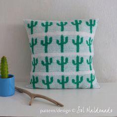 Pillow Crochet Pattern Cactus PDF - decorative crochet tapestry pattern cushion - Instant DOWNLOAD