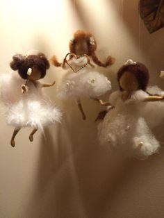 Needle felted fairy Waldorf inspired White Angel Doll miniature Art doll…