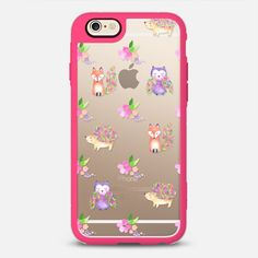 Watercolor Floral Woodland Animals - New Standard Case in Pink and Clear by @rubyridgestudio | @casetify