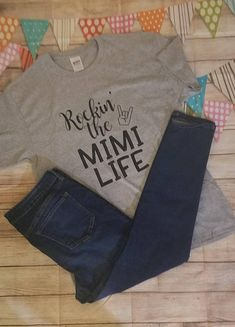 Items similar to Rockin the MIMI life shirt on Etsy Cool T Shirts, Tee Shirts, Tees, Mimi Love, Shirt Stays, Clothes Crafts, Summer Shirts, Grandchildren, Grandkids