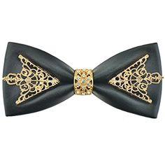 DeerLand Mens Bow Ties Vintage Floral Pu Leather Bowtie Wedding Party Neckwear Ties (Black)