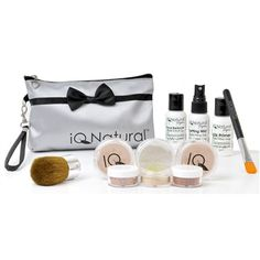Have it All with the IQ Signature Kit --  A incredible value, over $100 worth of cosmetics and brushes for less than half that cost! The kits each come with 2 Premium Loose Mineral Foundation shades, Bisque Multi-Tasking Concealer, Setting Veil finishing powder, blush, bronzer, our signature pore reducing elixir, silk-infused face primer & long-lasting moisturizer to keep your skin hydrated while wearing makeup. It comes with a large Kabuki brush, concealer brush, and travel case!