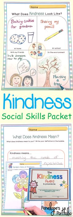 Kindness is a very important social skill. This Character Education - Social Skills Packet is filled with lessons teaching children the value of kindness, and is also great for classroom management. Resources may be used by teachers, school counselors, homeschooling parents, speech therapists, and other specialists.  https://www.teacherspayteachers.com/Product/KINDNESS-Character-Education-Packet-2142148