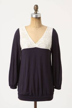 NEW Anthropologie Navy Blue Lace Peasant Blouse Top Tee By Postmark Sizes XS & S #Anthropologie #KnitTop #CareerCasual