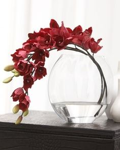 Deep Rose Orchid Faux Floral by John-Richard Collection at Neiman Marcus. I love shape of vase w/this arrangement! Ikebana Flower Arrangement, Modern Flower Arrangements, Orchid Arrangements, Flower Vases, Faux Flowers, Silk Flowers, Paper Flowers, Traditional Vases, Artificial Orchids